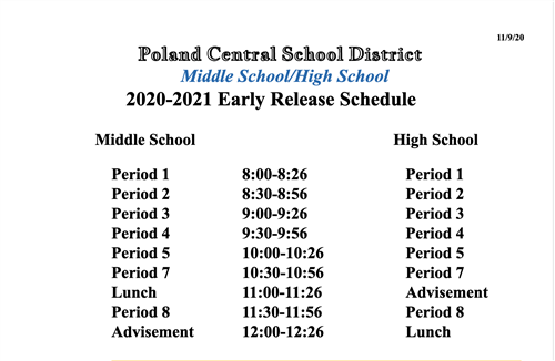 Early Release Schedule for November 23rd and 24th