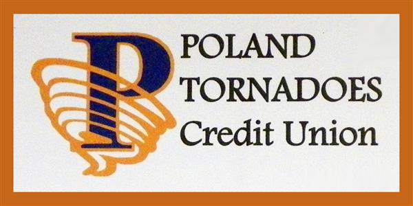 Poland Tornadoes Credit Union logo in blue and orange with tornado around the letter P