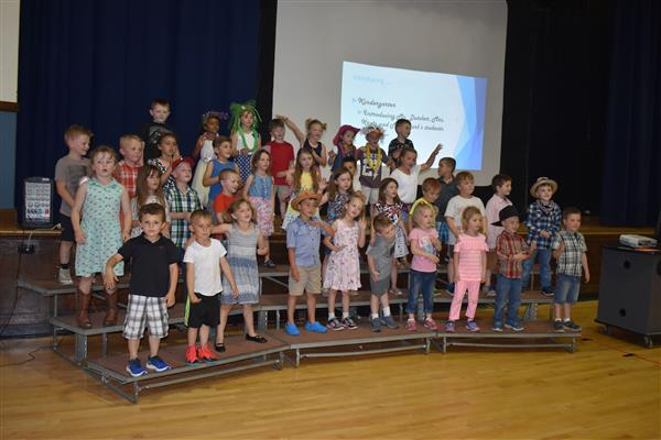 Kindergarteners singing during PPP Assembly