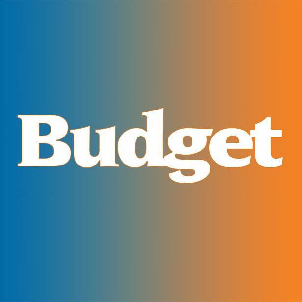 Blue and orange background with the word budget in white