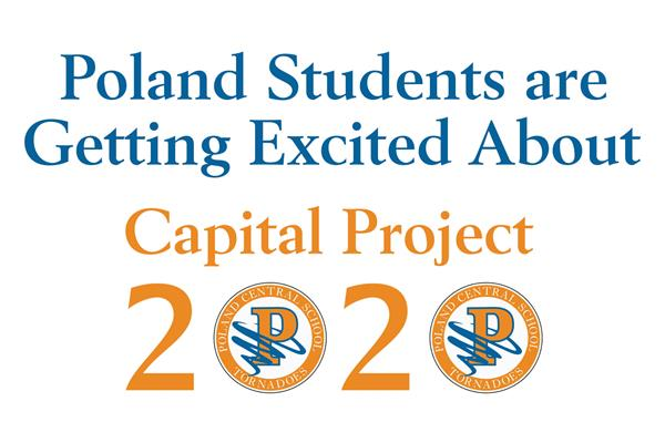 Blue and orange graphic stating Poland students are getting excited about Capital Project 2020