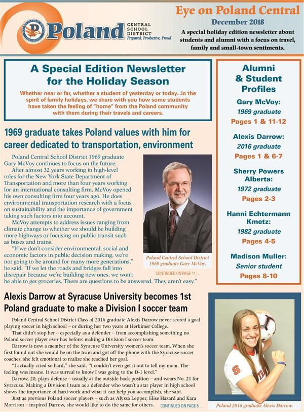 Cover of the holiday newsletter with stories on Gary McVoy and Alexis Darrow