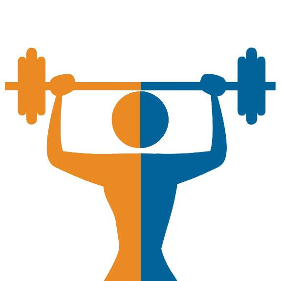 orange and blue drawing of someone lifting weights