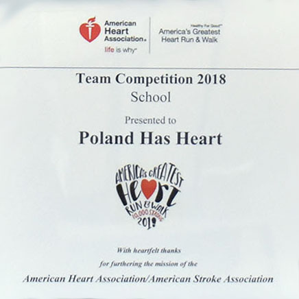 A closeup on Poland American Heart Association Award for raising the most money among schools