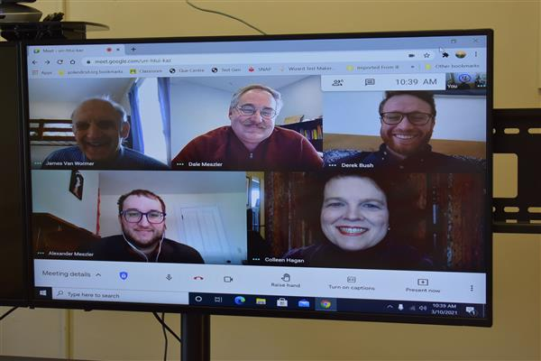 Five judges on a screen for virtual science fair presentations