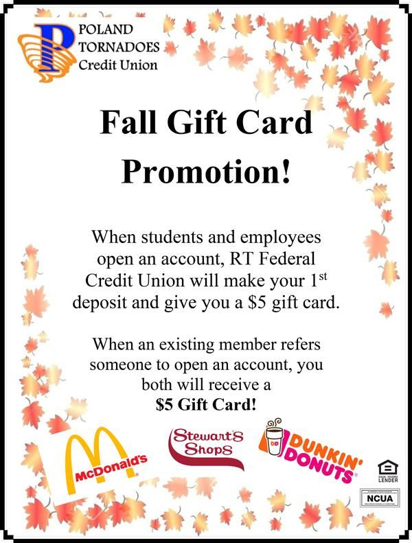 Fall Gift Card Promotion info