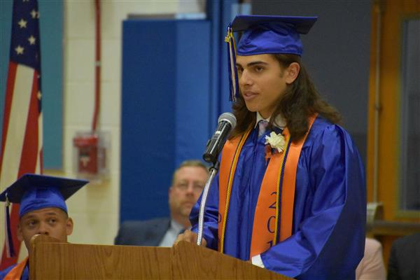 Patrick Mahoney speaking at graduation
