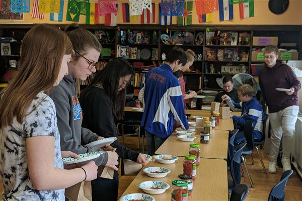 Spanish Club students sampling salsa