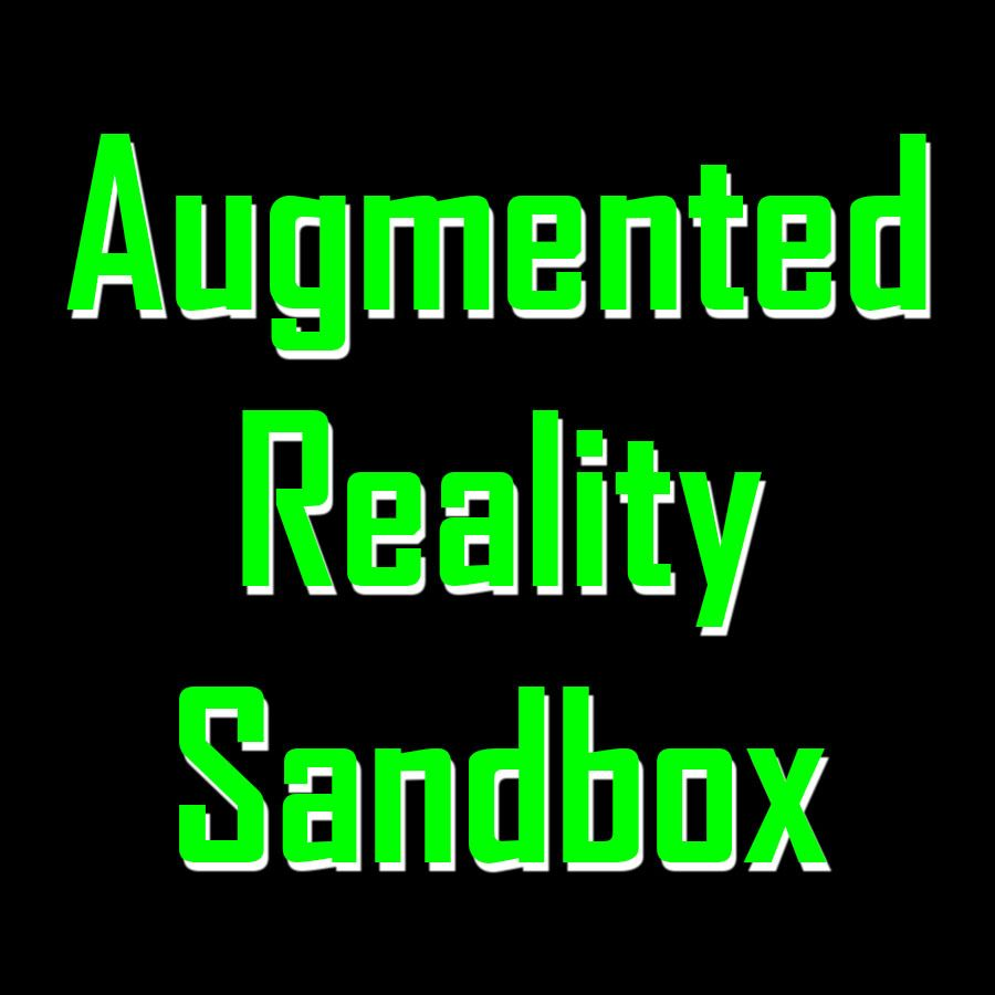 The words augmented reality sandbox in green on a black background