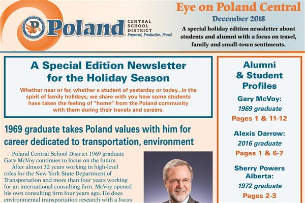 The top half of the cover of a newsletter featuring Poland logo and picture of Gary McVoy